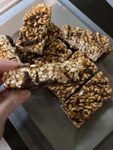 Peanut Butter Chocolate rice crispy treats close up