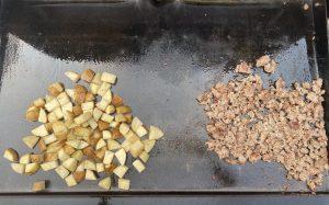 potatoes and sausage cooking
